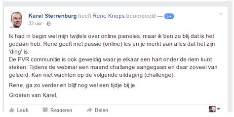 Beoordeling Pianoles Van Rene
