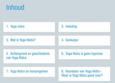 Deel van de inhoud van het Yoga Nidra Instructieboek