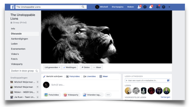 Facebook pagina The Unstoppable Lions