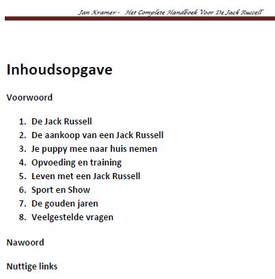 Inhoud Jack Russell Handboek voor de Jack Russel Handboek Review