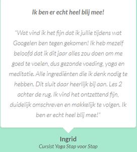 Testimonial van Ingrid voor de Yoga Stap Voor Stap Review