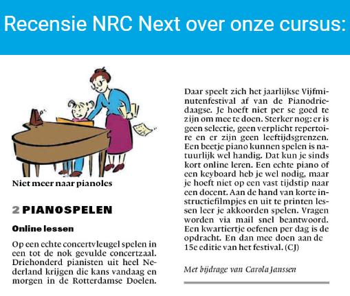 Recensie van de Cursus Piano Spelen in NRC Next
