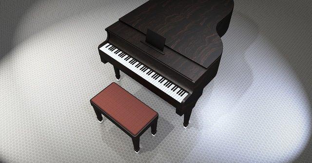 Vleugel piano van boven