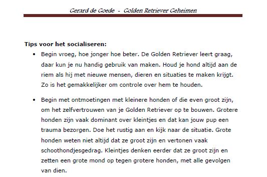 Stukje tekst uit Golden Retriever Geheimen