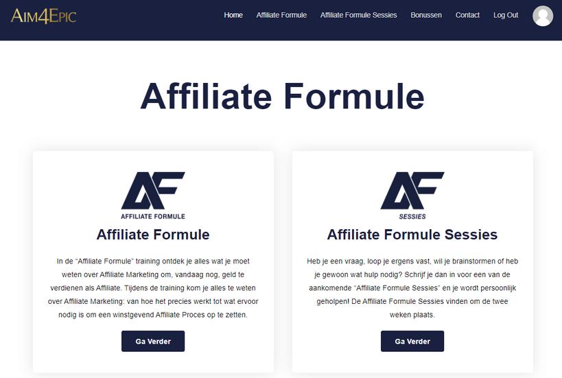 Affiliate Formule homepage voor de Affiliate Formule Review