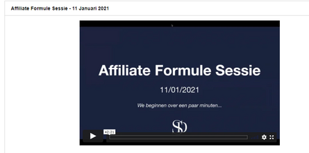 Screenshot Affilioate Formule sessie